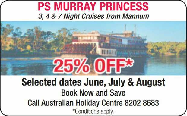 3, 4 & 7 Night cruises from Mannum   25% OFF   Selected dates June, July & August...