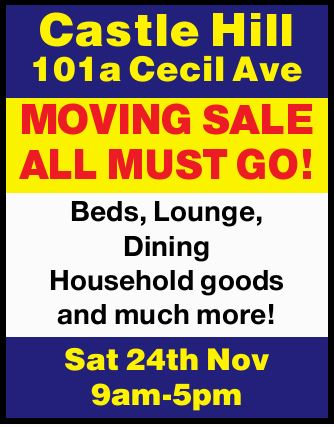 Beds, Lounge, Dining Household goods and much more!   Sat 24th Nov 9am-5pm