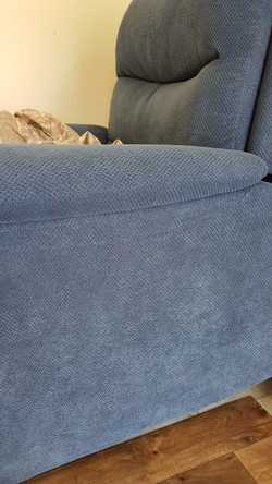 Very comfortable mid Blue fabric lounge. Downsizing. Seldom used, as new condition. great body suppo...