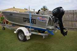 w/- 30 hp Suzuki 2 stroke  e/start motor on Quintrex trailer. Sounder, 2 anchors, oars, 4 life jacke...
