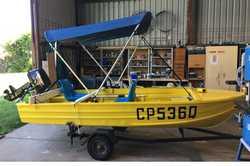 DINGHY, trailer 12ft reg, new 8hp motor, Bimini, anchor, marine carpet, tackle box, oars, 2 seats...