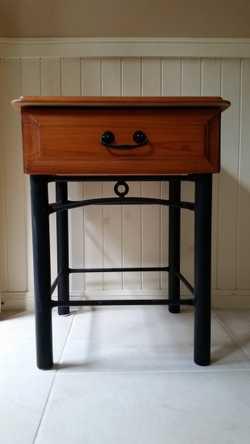 Single drawer wood/iron-look frame