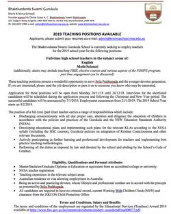 Bhaktivedanta Swami Gurukula (Hare Krishna School) invites applications for full-time/part-time Math...