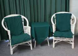 Sofa, 2 chairs & small table