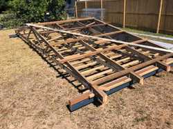 Trussed Roof Frame including zinc sheeting