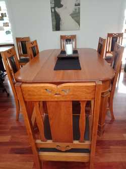 Dining room 8 seater, 6 chairs plus 2 carvers and sideboard and 2 seater lounge. Very good condit...