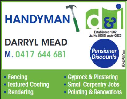 HANDYMAN    Fencing  Textured Coating  Rendering  Gyprock & Plastering...