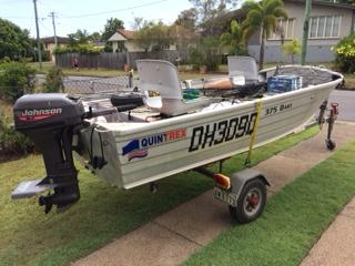 QUINTREX 3.75 DART GREAT BUY Johnson 15hp Motor on Swiftco Trailer with a Rhino Boat Loader plus...