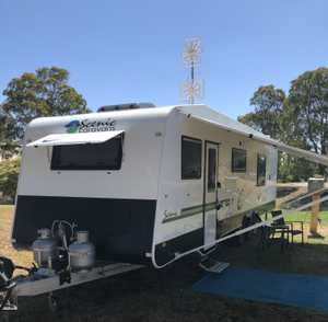<p> 2017 Scenic Spaceland, 27ft, fully loaded, 2x a/c, leather upholstery, rollout, 2-4 berth...