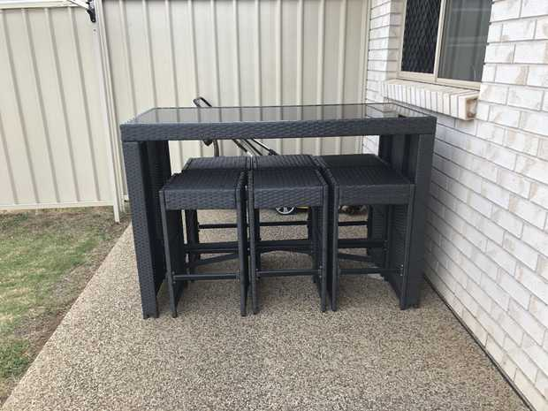 PAID $700.  6 MONTHS OLD   ONO $500  • Charcoal UV Resistant Wicker • Comprised of a Bar Table with...