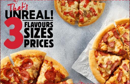 $3* Personal Pan Pizzas $5* Medium Pizzas $7* Large Pizzas Choose from: #Hawaiian, #Margherita &...