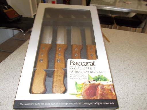 4 baccarat jumbo steak knives new still in box