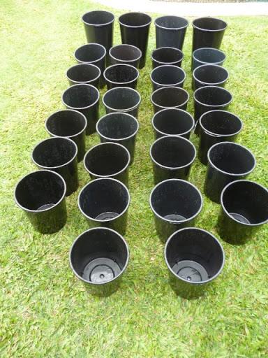 30 only black plastic plant pots26 @ 230mm h x 200mm dia & 4 @ 330mm h x 200 mm dia