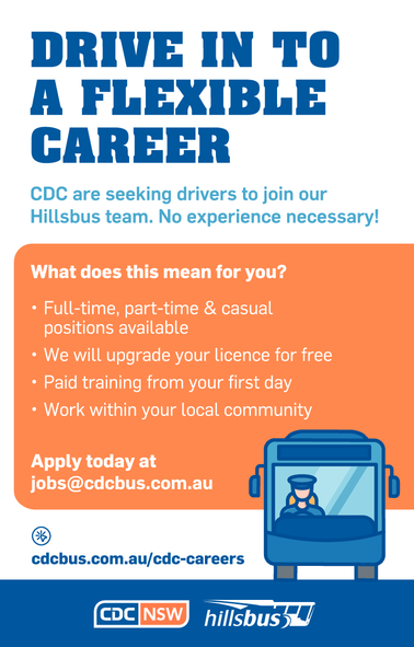 CDC are seeking drivers to jon our Hillsbus team. no experience necessary!