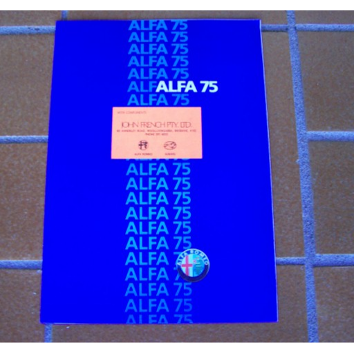 ALFA ROMEO 75 Sales Brochure8 page sales brochure includes specifications Engine, Transmission...