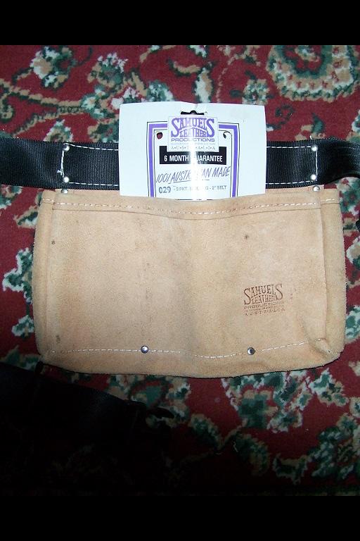 Carpenters Nail Bag. Genuine Samuels Suede Leather, 3 pocket, 100% Australian made, 2 inch wide belt...