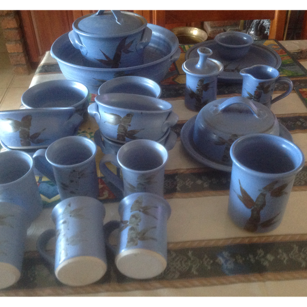21 piece Blue pottery, Brand new, never used, mugs ,milk and sugar, soup bowls to mention to mention...