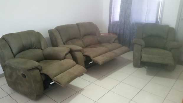 1x2 seater & 2x1 seater lounge suite.All reclining and olive in colour. Velour material in good...