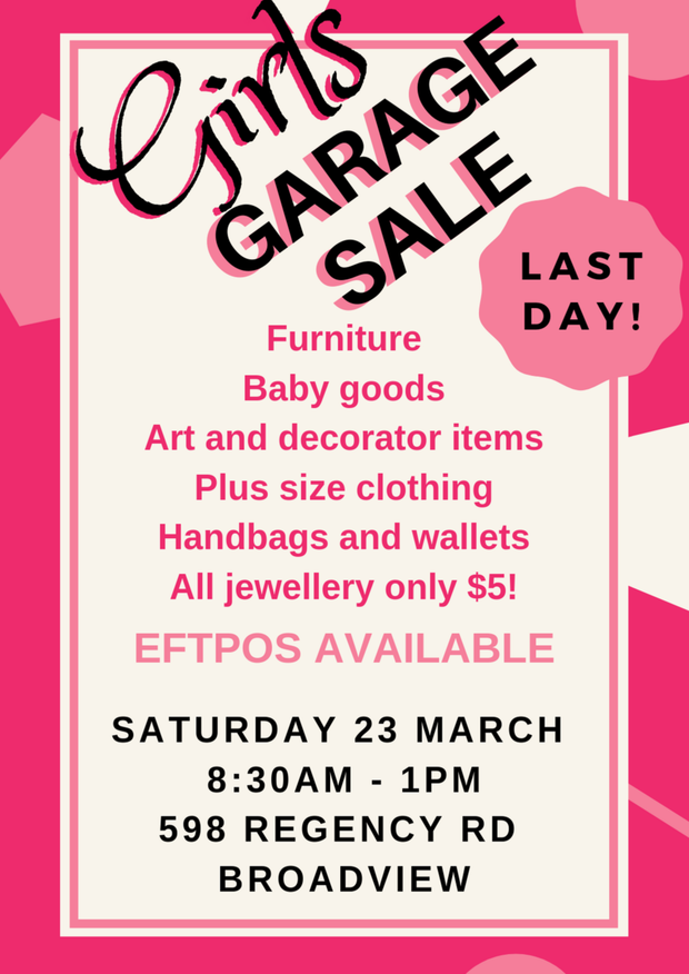 Girls Garage SaleFurniture, art and decorator items, costume jewellery, plus size clothing, baby goods...