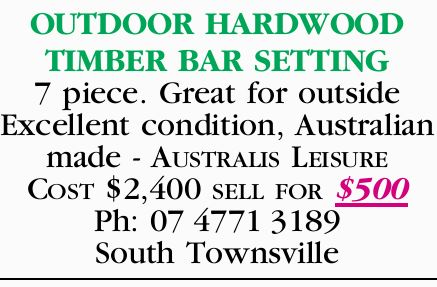 OUTDOOR HARDWOOD TIMBER BAR SETTING 7 piece. Great for outside Excellent condition, Australian made...