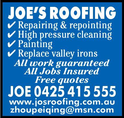 JOE'S ROOFING   Repairing & repointing   High pressure...