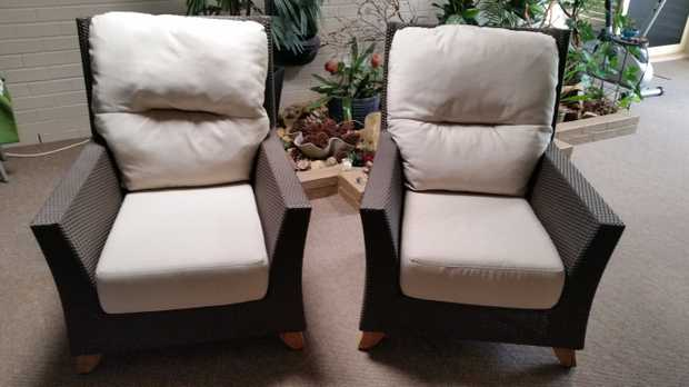 Pair of Palm Beach high back chairs - Mocca Weave with antique beige cushions