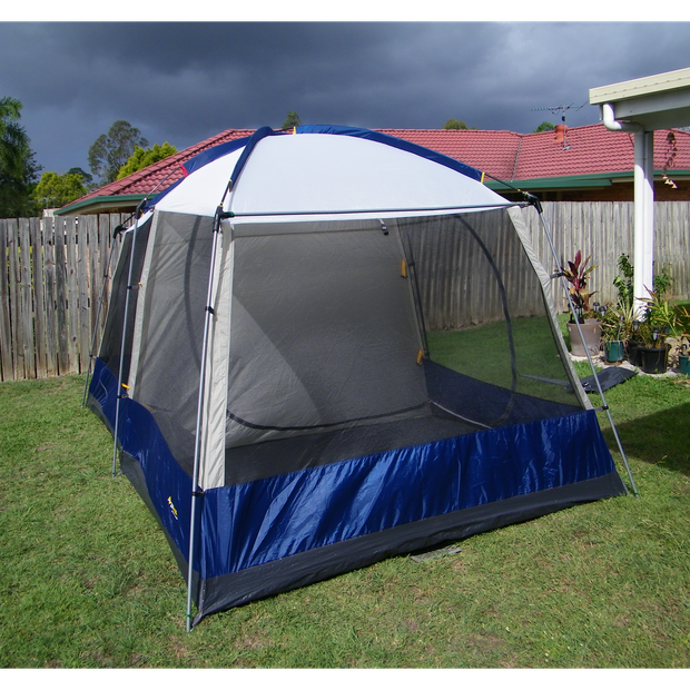 Oz Trail Hightower 8 person tent. BlueSteel and Fibre glass poles. Two compartment.Seam sealed...