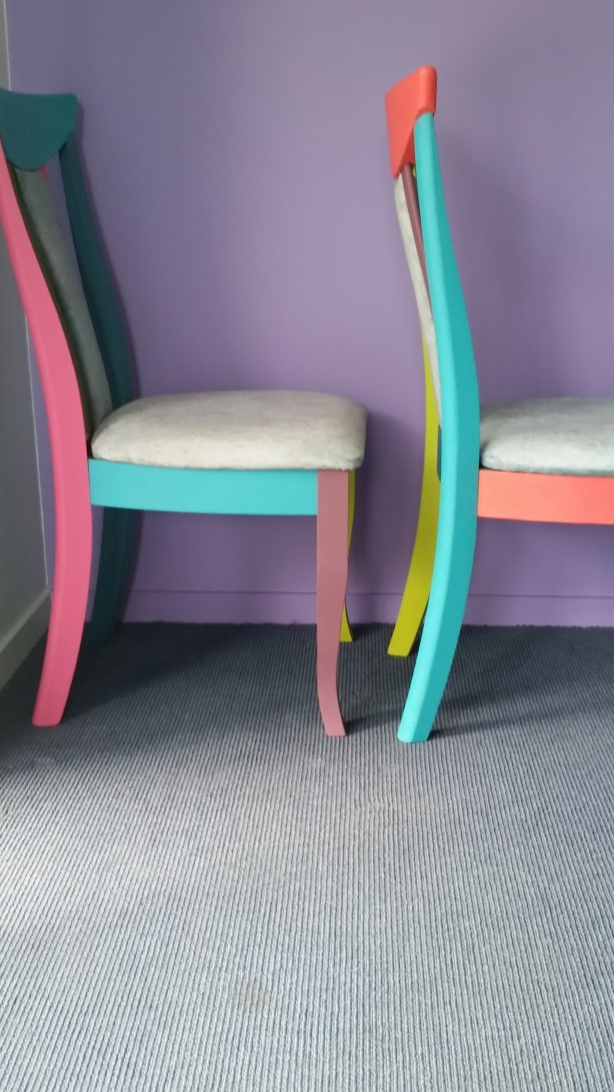 Shabby Chic RetroStyle Solid TimberChairs x 2.Psychedelic colours forArt Deco...