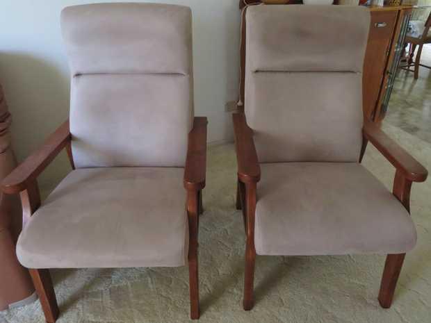 2 Chairs, Plain Fabric, Good Condition, $30 each, $50 pair, 0409647747