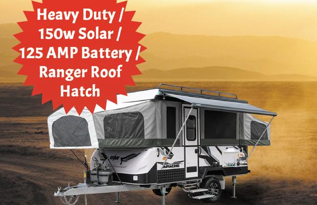 APACHE CAMPING-TRAILER POP TOP   Heavy Duty / 150w Solar / 125 AMP Battery /Ranger Roof...