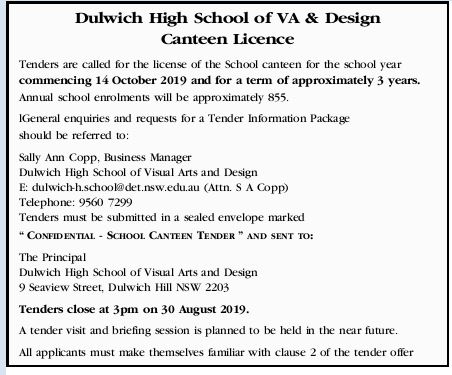 Dulwich High School of VA & Design Canteen Licence   Tenders are called for the licence of...
