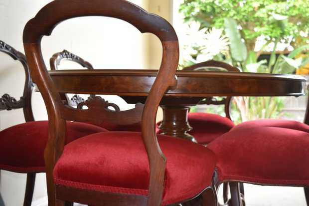 W/ 6 matching chairs, beautifully upholstered in red.   $12,000.    Contact Heather 0431602228