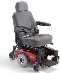 Power wheelchair with mid wheel drive. • Drives over transitions and thresholds up to two inches.  •...