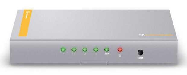 HDMI 2.0 & HDCP 2.2 Ultra HD 4K Support Distributes One HDMI Signal Into Four HDMI Display Grey/Orange...