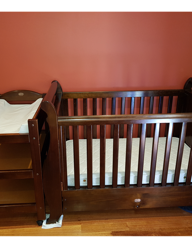Boori Sleigh cot and change table.Good condition and mattress included. A few scratches here and...