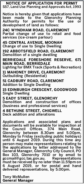 NOTICE OF APPLICATION FOR PERMIT    S57, Land Use Planning and Approvals Act, 1993   Notice is...