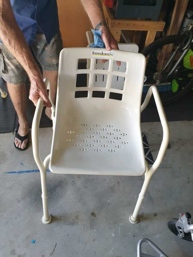 As new white shower chair. Rarely used. Excellent condition