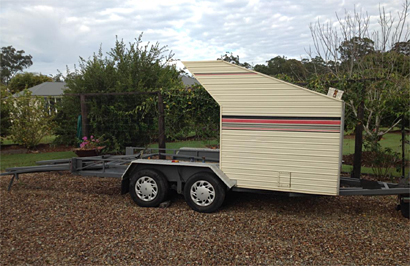 VEHICLE TRAILER Self loading dble decker, 3000lb winch, lots of storage boxes, would suit motorbike...