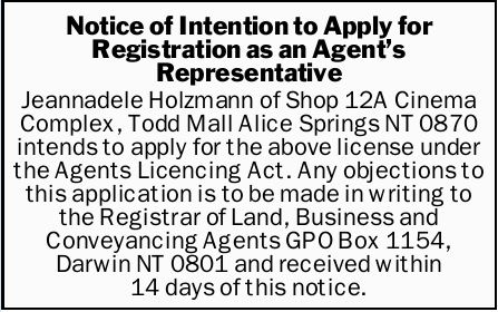Notice of Intention to Apply for Registration as an Agent's Representative  