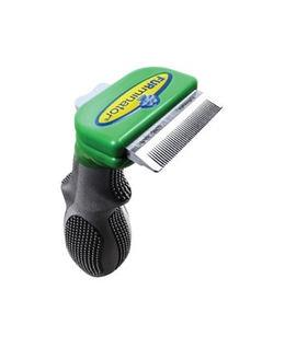 Reducing loose hair from dog shedding is simple with this tool designed for short haired dog grooming...