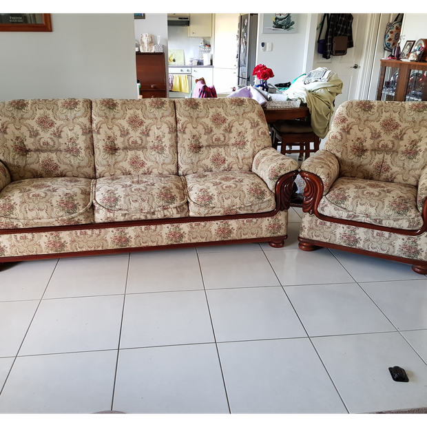 Beautiful Crafted Heavy Duty Tapestry cream coloured lounge suite.1 x 3 seater couch very roomy - and...