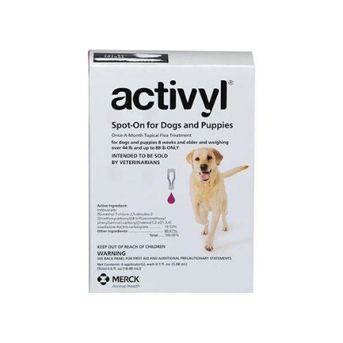 Activyl For Dogs Topical Flea Treatment 3 Pipettes By Merck All Sizes