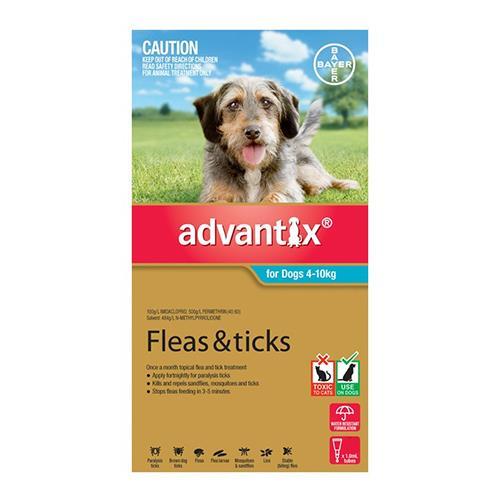Advantix For Medium Dogs 4 To 10Kg (Aqua) 1 Pack Dog Supplies Flea & Tick Control