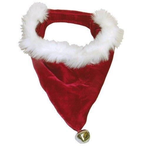 Outward Hound Fluffy Christmas Dog Bandanna with Bells - Medium