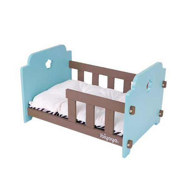 Ibiyaya Raised Wooden Pet Crib Bed for Dogs & Cats - Blue-Green/Brown