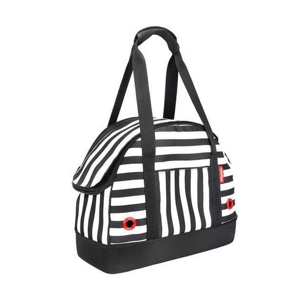 """IBIYAYA """"Hop in!"""" Bowling Bag style Pet Carrier - Audrey Monostripe"""