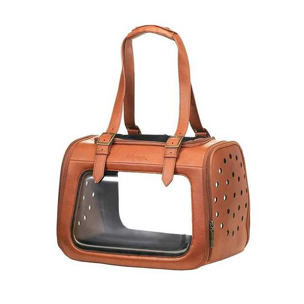 Ibiyaya Portico Deluxe Leather Pet Carrier Cat & Dog Transporter