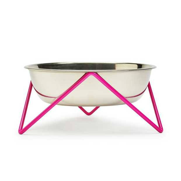 Bendo Woof Raised Stainless Steel Dog Bowl with Pink Steel Stand