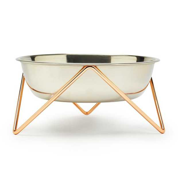 Bendo Luxe Woof Raised Stainless Steel Dog Bowl with Copper Steel Stand