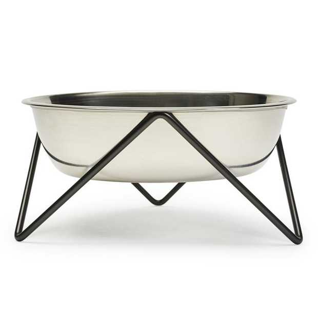 Bendo Luxe Woof Raised Stainless Steel Dog Bowl with Black Steel Stand
